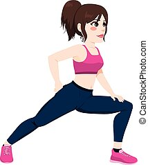 Woman Stretching Legs - Young woman stretching legs before...
