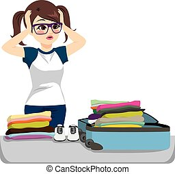 Desperate Packing Suitcase - Desperate young woman packing...