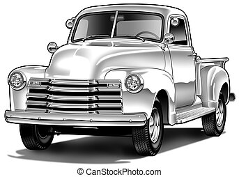 49chvypickup - B&W Airbrush and line Illustration
