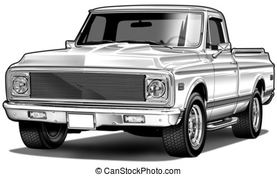 72 pickup mild custom - Airbrush and Line Illustration