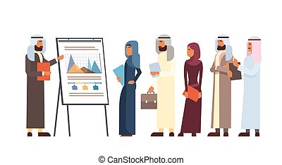 Arab Business People Group Presentation Flip Chart Finance,...