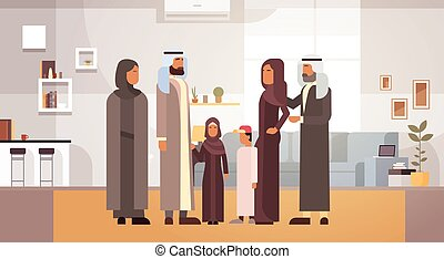 Arab Family Home, Arabic Parents With Children In Modern Apartment