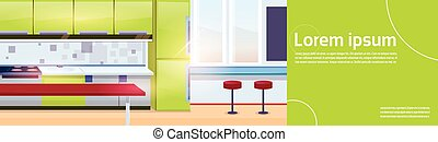 Modern Kitchen Interior Empty No People House Room Flat...