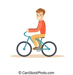 Illustration of a young boy riding a bicycle