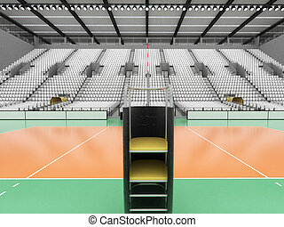 Beautiful sports arena for volleyball with white seats and...