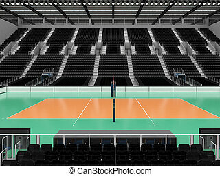 Beautiful sports arena for volleyball with black seats and...