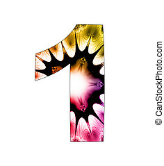 1  number with abstract design