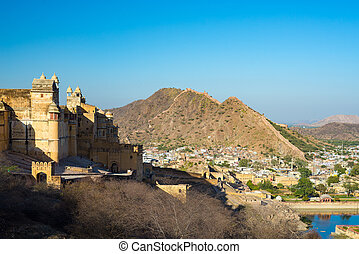 The impressive landscape and cityscape at Amber Fort, famous...