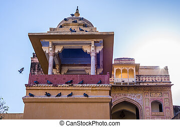 Architecture details at Amber Fort, famous travel...
