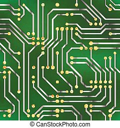 Complicated microchip, seamless pattern on green