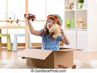 箱子, 飛行, 孩子, 孩子, 紙板, 飛行員