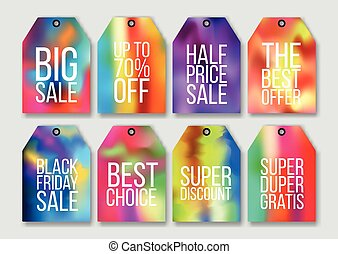 Abstract colorful holographic effect sale tags set. Mesh....
