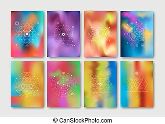Abstract colorful holographic cards set. Mesh. Vector...