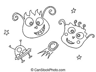 Vector doodle of aliens in space with a spaceship