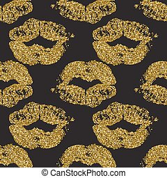 Seamless pattern with goldglitter lips prints