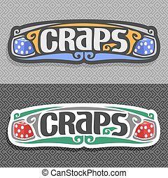 Vector logo for Craps gamble: pair blue gaming Dice with...