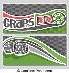 Vector banners for Craps gamble: inscription title text on...