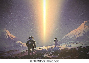 astronauts walking to mystery light beam from the sky,...