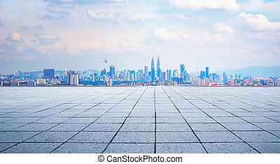 Kuala Lumpur city - Cityscape and skyline with empty floor.