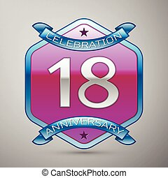 Eighteen years anniversary celebration silver logo with blue...