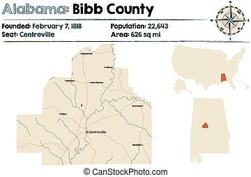 Alabama: Bibb County - Large and detailed map of Bibb County...