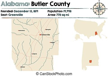 Alabama: Butler County - Large and detailed map of Butler...