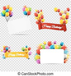 Group of Colour Glossy Helium Balloons with Ribbon Isolated on Transparent Background. Vector Illustration