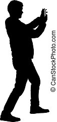 Silhouettes man taking selfie with smartphone on white background