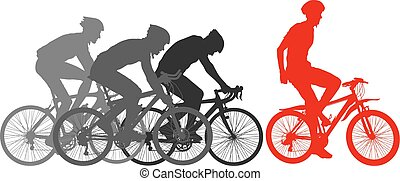 Silhouettes of racers on a bicycle, fight at the finish line