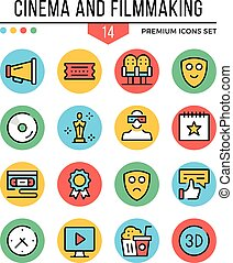 Cinema and filmmaking icons. Modern thin line icons set....