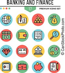 Banking and finance icons. Modern thin line icons set....