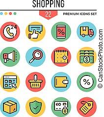 Shopping icons. Modern thin line icons set. Premium quality....