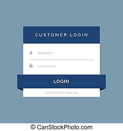 flat login form design on blue background