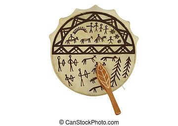 tambourine - The image of shaman tambourine under the white...