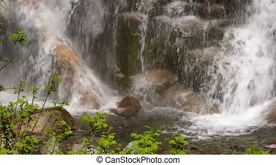 Rushing Water Falls to Rocky Base Columbia Gorge Waterfall -...