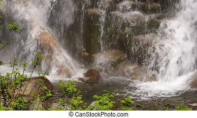 Rushing Water Falls to Rocky Base Columbia Gorge Waterfall -...