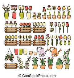Vector set of colorful flower icon isolated on white. -...