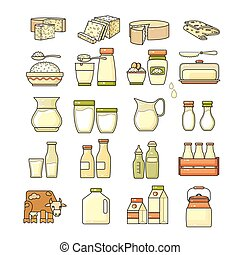 Vector set of flat design cute colorful dairy icon. - Vector...