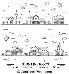 Neighborhood with homes and churches illustrated on white....