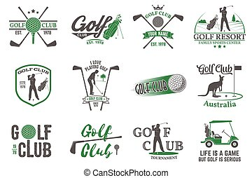 Set of Golf club concept with golfer silhouette. Vector...