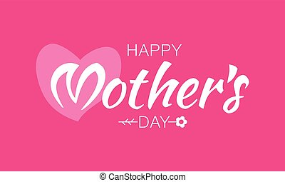 Vector White Happy Mother's Day Typographic Lettering isolated on pink Background With Pink Heart and Flower Illustration of a Mothers Day Card.