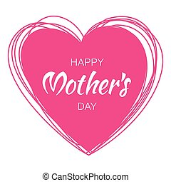 Happy Mothers Day hand drawn typographic lettering with purple pink scribble heart isolated on white background. Vector Illustration of a Mother's Day card.