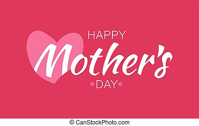 Vector White Happy Mother's Day Typographic Lettering isolated on red Background With Pink Heart and Flowers Illustration of a Mothers Day Card.