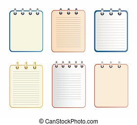 Icon of notebook in six variants. Tear-off notepad on the...