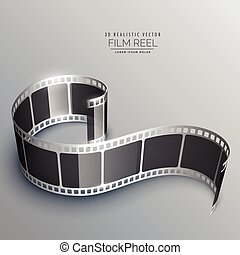 realistic 3d film strip vector background