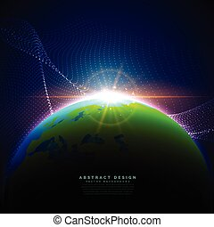 earth on blue sky in technology digital style background