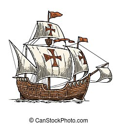 Sailing ship floating on the sea waves. Caravel Santa Maria....