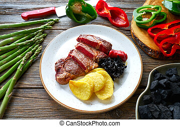 Grilled beef tenderloin with french fries - Charcoal grilled...