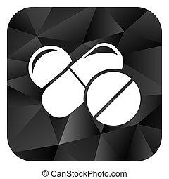 Medicine black color web modern brillant design square...