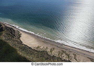 Malibu Pacific Coast Highway Roadside Sand Dune - Aerial...